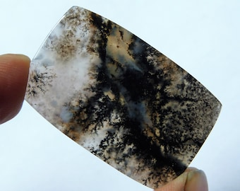 43.85 Cts Natural Amethyst Sage Dendrite Agate Cabochon Gemstone 40.5X26X4 mm