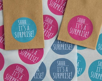Shhh it's a Surprise Wedding Favor Sticker - Raspberry, Grey, Teal Seal/Label - Baby Shower, Surprise Party - Round 40mm (1 1/2in) WED16
