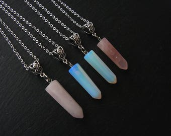 Rose Quartz Polished Quartz Necklace Opalite Necklace Natural Crystal Healing Love Chakra Necklace