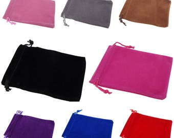 Wholesale Lot of 100 Color Soft Velvet Pouches with Drawstrings for Gift Packaging, 2 Size, 9 Colors availables