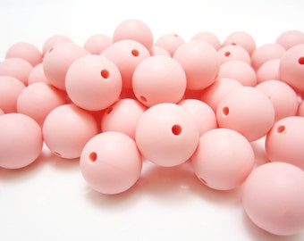 15mm - Lot of 10 Delicate Pink Loose Silicone Beads