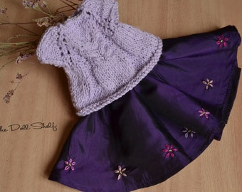 Lilac cardigan and skirt for doll 14-16-15-16-17 inch, lilac doll dress, Waldorf doll clothes, Steiner doll clothes, Waldorf doll dress