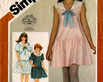 1983 Girls' PULLOVER DRESS PATTERN Simplicity #6000 Size 7-8-10 Dropped Waistline Sunday/School Dress Sailor/Scalloped Collar Vintage Sewing