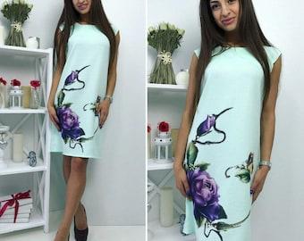 "Dress with sublimation ""Rose"" mint color"