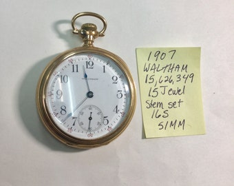 1907 Waltham 15 Jewel Pocket Watch 16S 51mm Gold Filled Case
