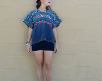 Vintage GUATEMALAN Huipil PONCHO TOP with Vibrant Neon Fruit Handwoven Embroidered