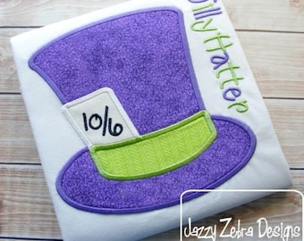 Tea Party Hat Appliqué embroidery Design - hat Appliqué Design - mad hatter Applique Design