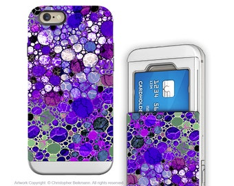 Purple iPhone 6 6s Card holder Case - Grape Bubbles - Artistic Credit Card Wallet iPhone 6s Case with Rubber Sides