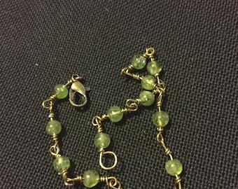Peridot & Bronze Bracelet