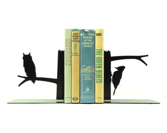 Owl & Woodpecker Bookends