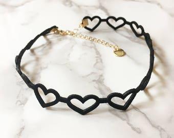Cute Heart Choker, Heart Necklace, Cute Necklace, Faux Suede Choker