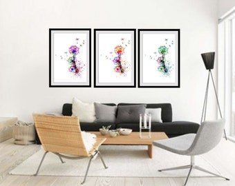 Wonderful Dandelion Watercolor Print Set Dandelion Set Of 3 Dandelion Poster Set Set  Of 3 Posters Home