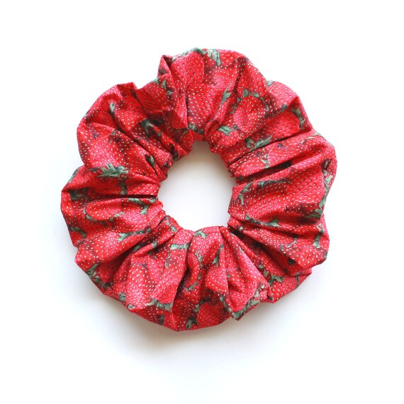 STRAWBERRIES. Large Red Scrunchie with strawberries. Women Hair Accessories. Retro Accessory.