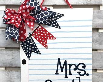 Classroom Door Hanger: Notebook Paper  - Last Name Sign - Initial Sign - Teacher Christmas Gift - Classroom sign - New Teacher Gift