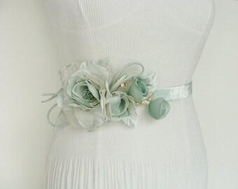 Mint Bridal Sash - Mint Flower Sash - Green Mint Sash - Mint Flower Belt - Wedding Belt - Bridal Floral Sash