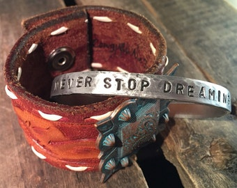 Never Stop Dreaming skinny adjustable aluminum cuff