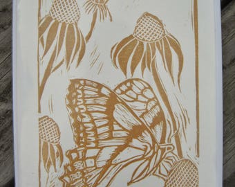 3 Butterfly Block Print Handmade Blank Greeting Cards