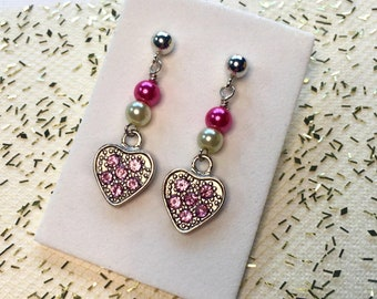Girls surgical steel pink heart dangle earrings - sterling silver leverback cute earrings - gift for her - niobium hooks