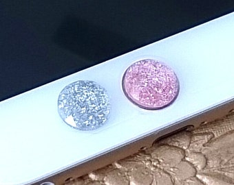 iPhone Home Button, iPhone Charm Sticker, iPhone iPad accessories -  Shimmering Glittering Pink, Silver, Green, or Red