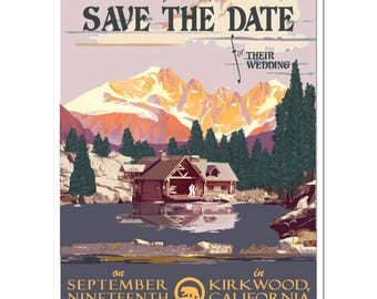 Vintage Lake Cabin Save the Date PDF - DIY printing