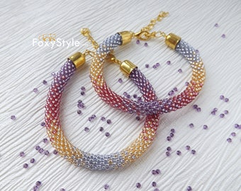Beaded Bracelet Crochet Bracelet Femme Seed Bead Bracelet Mindfulness Gift Purple Bracelet Rope Bracelet Everyday Charm Bracelet Gift