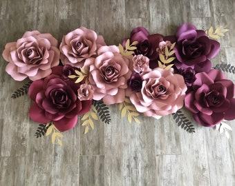 Burgundy dusty Rose paper flower roses engagement bridal shower bedroom decor