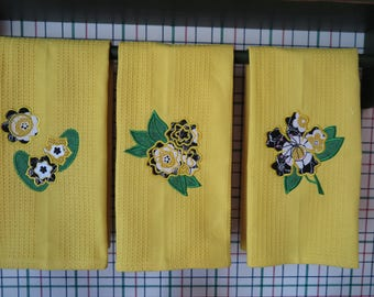 Dish towels-set of three- appliqued flowers for Spring
