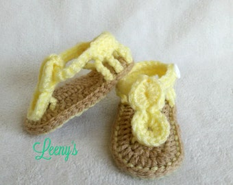 Crochet Baby Gladiator Sandals in Any Color / Seaside Baby Girl Sandals