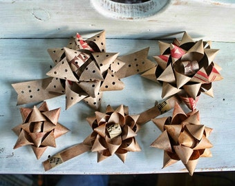 Recycled paper gift bows, upcycled vintage map bows and brown paper bows, eco-packaging