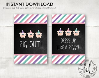 Three Little Pigs Party Signs | Three Little Pigs Birthday Signs | Girl Birthday Signs | Pig Party Signs | Pig Out Signs