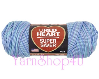OCEAN Red Heart Super Saver. Blue variegated acrylic yarn in a 5oz skein. blue ombre yarn, Blue multi color yarn, worsted weight, Cheap yarn
