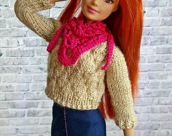 Doll clothing - crocheted scarf. Doll's fashion hand made accessories - pink scarf-bactus. Fits for 1/6 scale dolls Barbie, FR, MH, EAH, etc