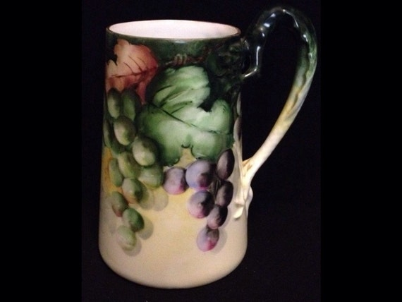"FREE SHIPPING-Fabulous-Hand Painted-Artist Signed-Grapes-Figural Dragon Handle-6"" Tall-Favorite Bavaria-German-Stein/Mug"