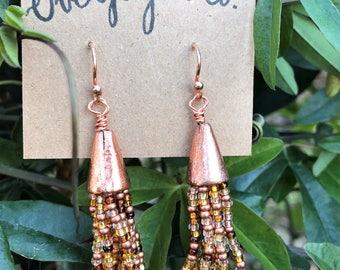 Beaded tassel earrings, copper earrings, copper tassel earrings, copper dangle earrings, hand beaded earrings, gift for her, Overjoyedco