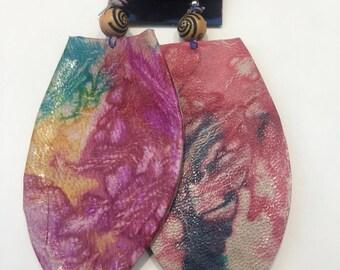 Leaf Shape design West African Leather Earrings