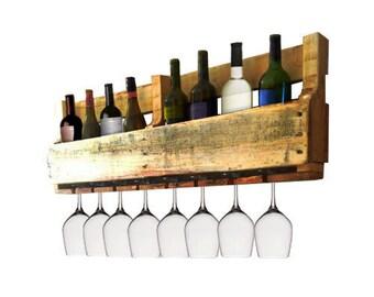 pallet wall wine rack. Pallet Wine Rack - Glass Holder Bar Wall Organizer For