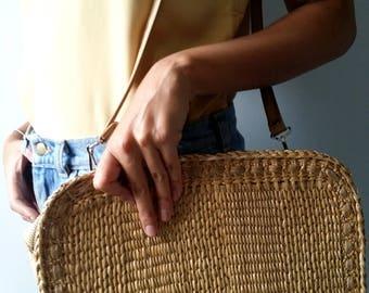 1960's Woven Straw Purse / Canvas and Straw Over-the-Shoulder Bag / Boho-Hippie Style / Festival Ready Handbag / Crossbody Woven Straw Purse