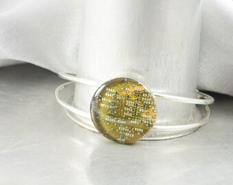 Circuit Board Bracelet Yellow, Circuit Board Jewelry, Geeky Cuff Bracelet, Technology Gift for Her, Techie Jewelry, Industrial Chic Gift