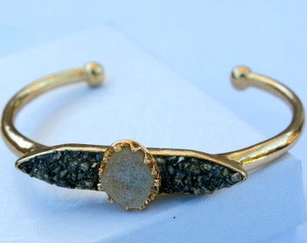 Mother's Day Sale! 50% Off, Boho Bracelet, Druzy Bracelet, Bohemian bracelet, Aura Bracelet, Pyrite Bracelet,Crystal Quartz Bracelet