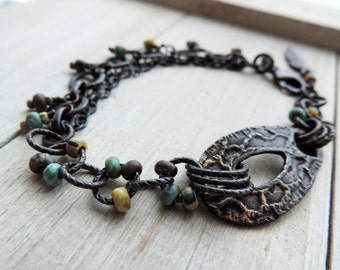 Feather Whisper Pewter Teardrop Bracelet with old-world Matte Picasso dangles and Fallen Angel Brass Feather and Findings