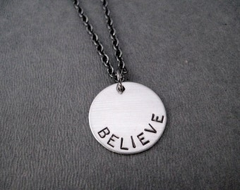 BELIEVE Necklace  - Inspirational Necklace on Gunmetal chain - Believe Jewelry - Motivation - Weight Loss - Recovery - Faith - Believe Charm