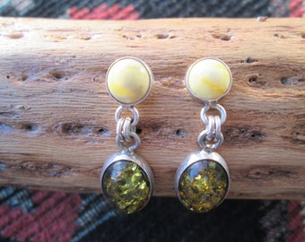 Amber and Sterling Post Dangle Earrings