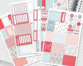 Shabby chic floral Planner Stickers Weekly Kit to be used with Erin Condren Recollections & Happy Planner - 134 Stickers (#12,012)