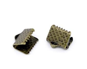 50 8mm Bronze tie clip tip DrawString M00406 Ribbon claws