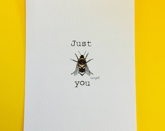 Just bee you special edition print, bumblebee, bee print, insect print, love bees, bee art
