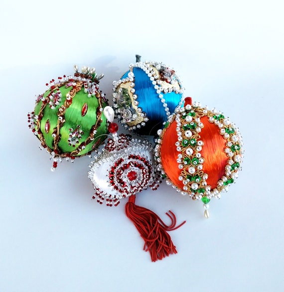 Vintage 1960's Retro Style Pin and Bead Ornaments in Orange. Blue, Green and White Set of 4