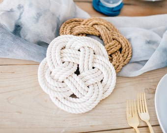 Rope Trivet / cotton white