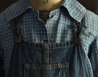 Vintage 1920s 1930s Overalls Boys Blue Denim Work Wear Farm