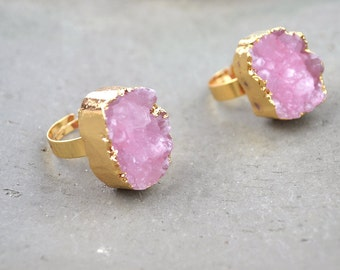 Natural Pink Quartz Druzy Ring Raw Rough Pink Crystal Quartz Geode Ring Cluster Stone Drusy Ring Adjustable Ring