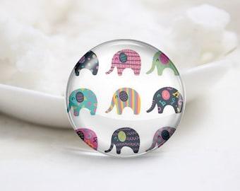 Handmade Round Elephant Photo Glass Cabochons (P3490)